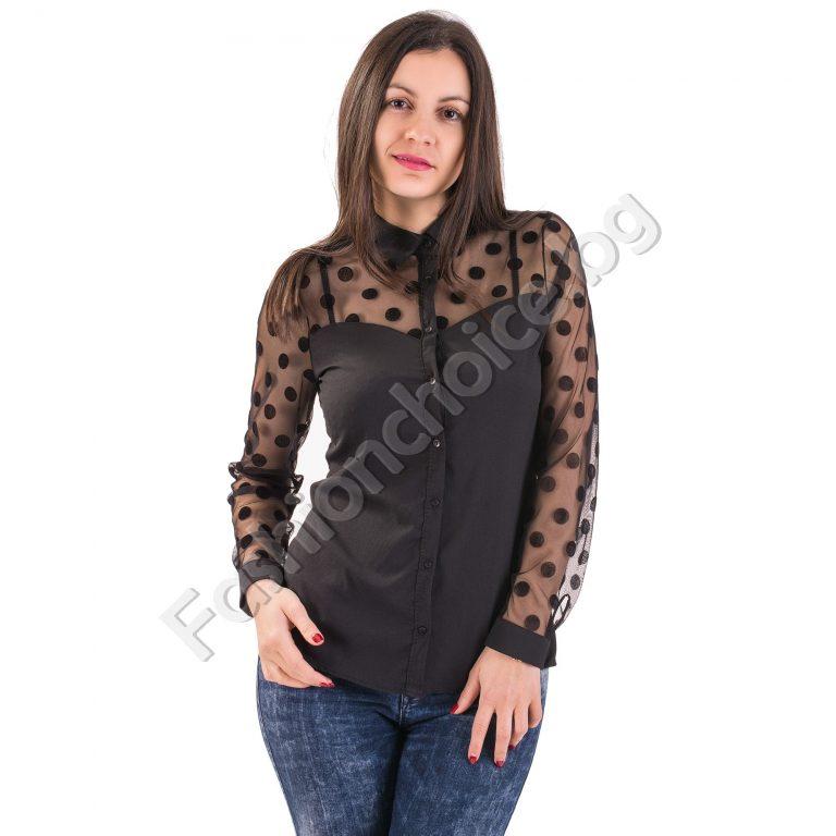 Празнична дамска риза с тюл и точкиПразнична дамска риза с тюл и точки в черен цвят в черен цвят