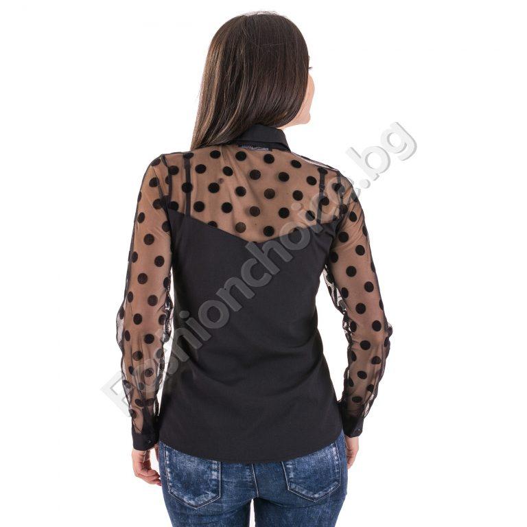 Празнична дамска риза с тюл и точки в черен цвят