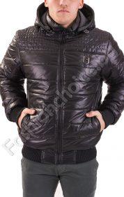 Дебело зимно мъжко яке с качулка в синьо и черно