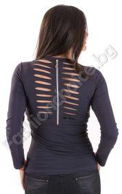 Дамска блуза с ефектен гръб и сребрист надпис в 3 цвята