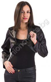 Сатенени дамски ръкави с връзка за прибиране в черно
