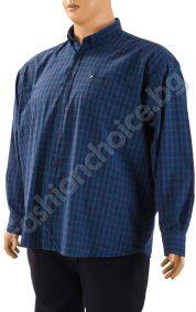 Стилна мъжка риза - макси размер в синьо на едро райе