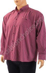 Изискана мъжка риза - макси размер в бордо на ситно райе