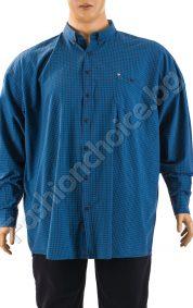 Карирана мъжка риза в син цвят /9XL, 10XL/