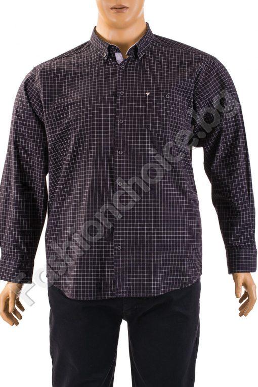 Официална мъжка риза - макси размер на райе в черно и синьо
