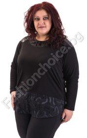 Изящна макси блуза с интересна задна част в черен цвят
