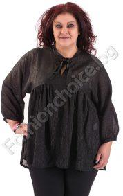 Изискана риза с издължена задна част в черен и червен цвят/макси размер/