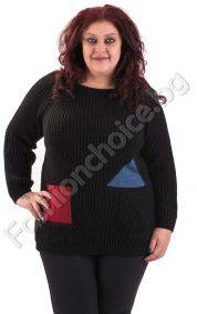Разкошен зимен макси пуловер с фигури в пет десена