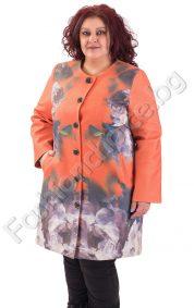Дизайнерско дамско палто на флорални мотиви /макси размери/