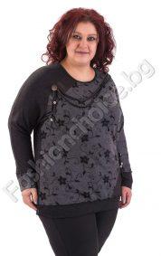 Модерна макси блуза с вървички и промазка в черно