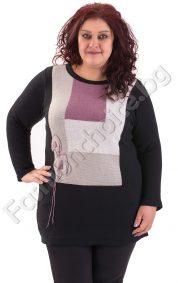 Топъл макси пуловер с две красиви цветя в черен цвят