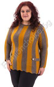 Зимен макси пуловер в три десена с копченца за декорация