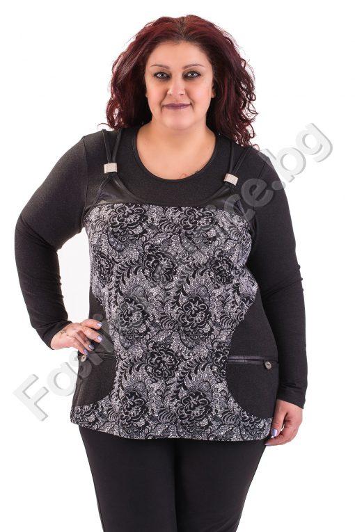 Топла макси блуза с джобчета имитираща две части