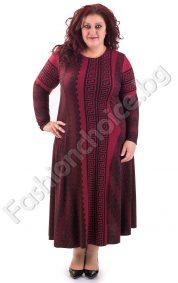 Изискана топла макси рокля с мотиви тип Версаче в цвят бордо