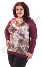 Топла макси блуза в цвят бордо и платки от промазка