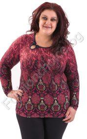 Страхотна макси блуза в два актуални десена с панделка