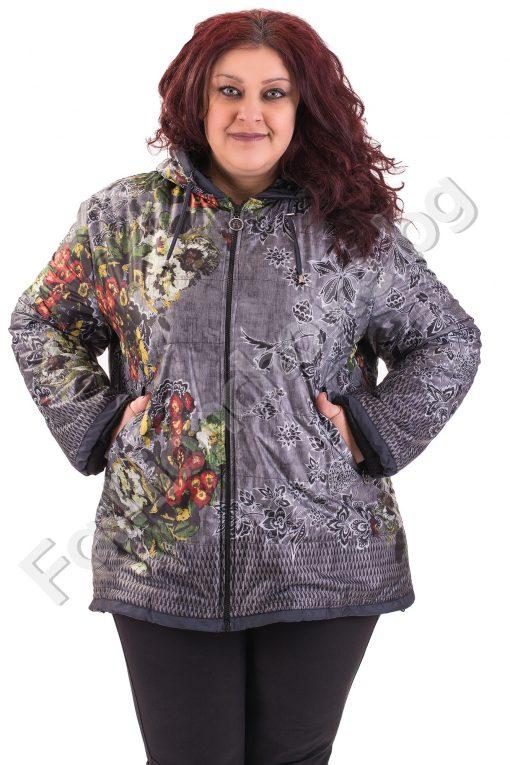 Дебело шушляково яке на флорален десен и качулка/макси размер/
