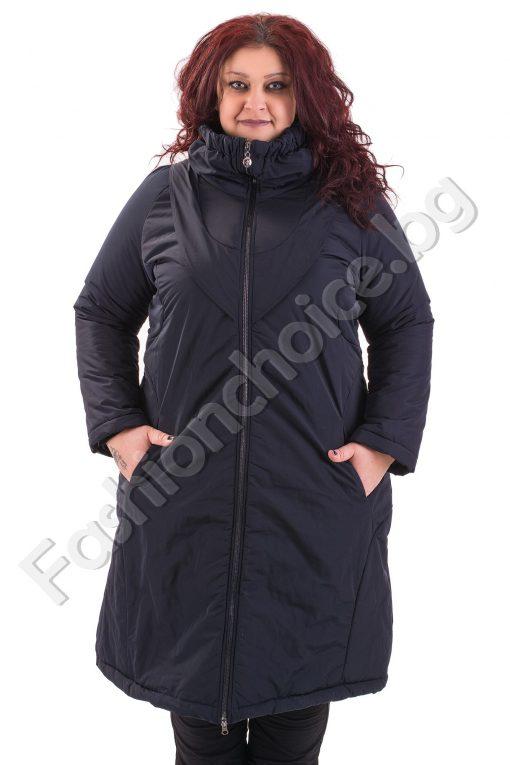 Дълго макси плътно яке в тъмно син и черен цвят