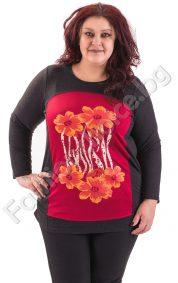 Прелестна макси туника с големи цветя и червена платка