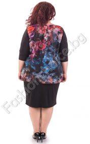 Уникална макси рокля в син цвят с шифон на цветя