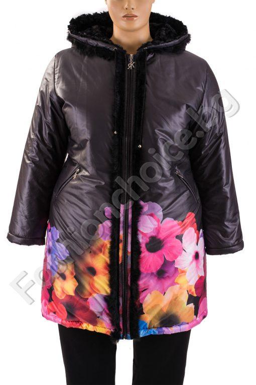 Разкошно зимно макси манто в черно с големи цветя