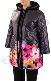 Разкошно зимно макси манто в черно с големи цветяРазкошно зимно макси манто в черно с големи цветя