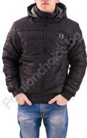Дебело зимно мъжко яке с камуфлажен ефект в черно