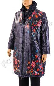 Дебело зимно макси яке в тъмно синьо на цветчета с разкошна яка