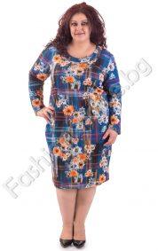 Кокетна макси рокля с обло деколте в два флорални десена