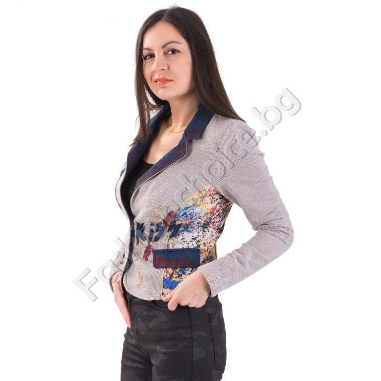 Дамско сако в сив меланж с надпис LOVE THEM ALL