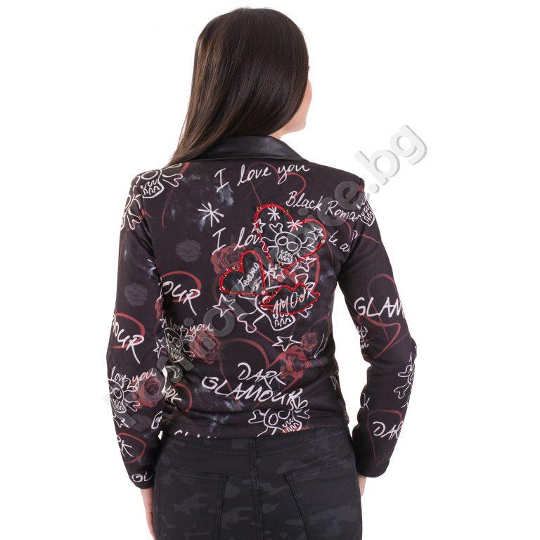 Ефектни дамско сако в черен цвят с надписи и сърчица