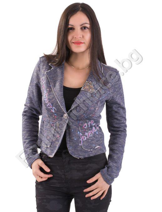 Дамско сако в два десена с декорация от уникален диамант