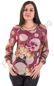 Ефектна дамска блуза с тюлени ръкави във флорален принт