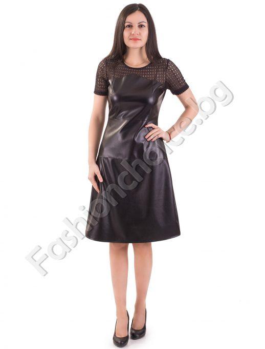Модерна кожена дамска рокля с къс ръкав