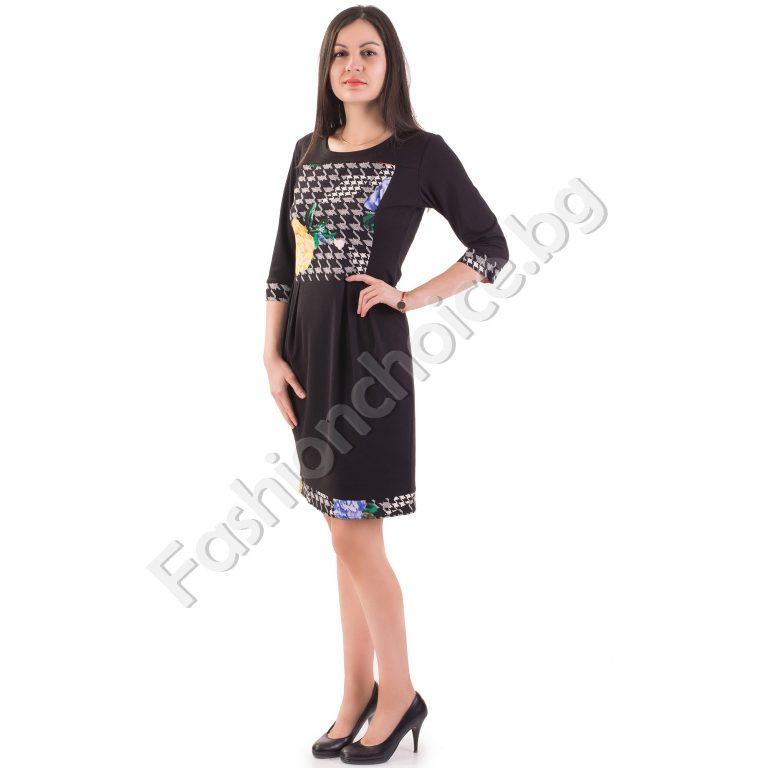Шикозна дамска рокля с флорален елемент в черен цвят
