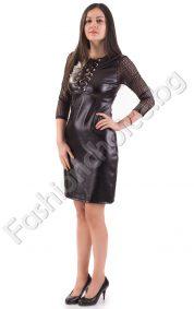 Кожена дамска рокля с ефектно деколте - прав модел