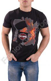 Черна мъжка тениска с надпис HARLEY-DAVIDSON