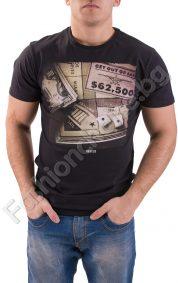 Памучна мъжка тениска с ефектна щампа в предната част
