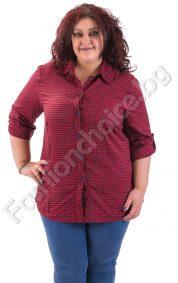Памучна дамска риза на каре в червено и черно /макси/