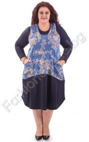 Макси размер рокля от две части с блуза и сукман на цветя