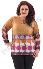 Пролетна макси блуза с големи кръгове и ръкави от шифон