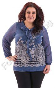 Макси блуза с ръкави от шифон и ефиМакси блуза с ръкави от шифон и ефирна панделка в синьорна панделка в синьо