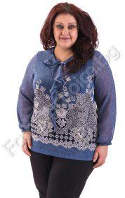 Макси блуза с ръкави от шифон и ефирна панделка в синьо