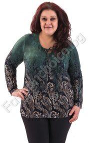 Изящна макси блуза за пролетта с абстрактни мотиви в два десена