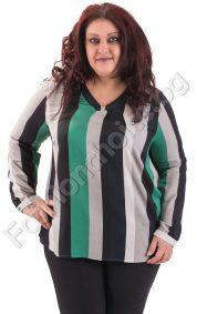 Нежна макси блуза на райета с издължена задна част