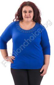 Пролетна макси блуза в три свежи нюанса с камъчета