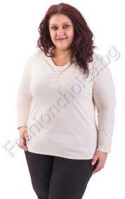 Дамска макси блуза в цвят шампанско с камъчета около деколтето