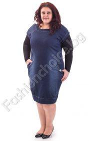 Дамска дънкова рокля с къс ръкав и джобчета /макси размер/