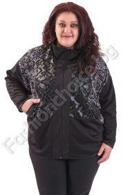 Комфортен макси жакет с прилеп ръкави и кожени мотиви