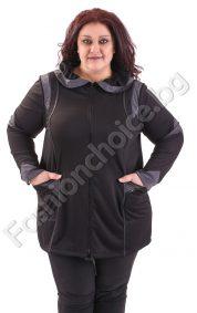 Макси жакет с модерно оформена яка в сив и черен цвят